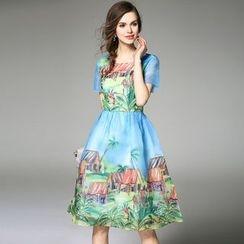 Queen Mulock - Short-Sleeve Printed Chiffon Dress