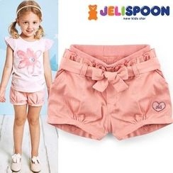 JELISPOON - Girls Paperbag-Waist Shorts with Sash