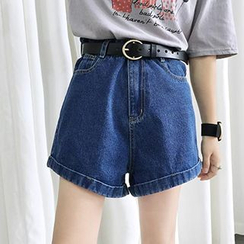 Glen Glam - Wide Leg Denim Shorts