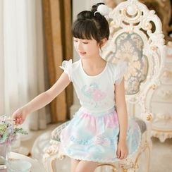 Candy Rain - Kids Print Ruffle Skirt