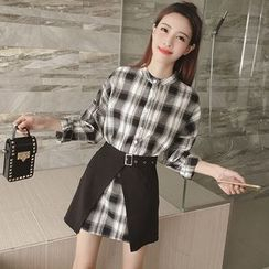Mocha - Set: Plaid Long Shirt + A-Line Skirt