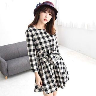 Tokyo Fashion - Gingham Tie-Waist A-Line Dress