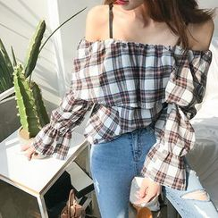 DABAGIRL - Off-Shoulder Ruffled Plaid Top