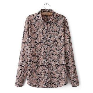 JVL - Long-Sleeve Patterned Chiffon Shirt