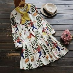 YOYO - Long-Sleeve Tie-Neck Printed Dress