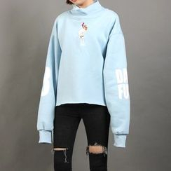 Momewear - Mock-Neck Printed Embroidered Pullover