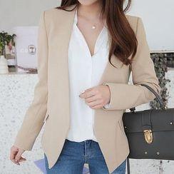 Seoul Fashion - Collarless Slim-Fit Peplum Jacket
