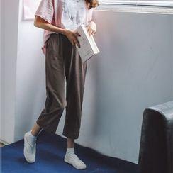 Porta - Band Waist Cropped Wide Leg Pants