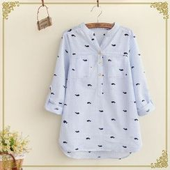 Fairyland - Tab-Sleeve Whale Print Shirt