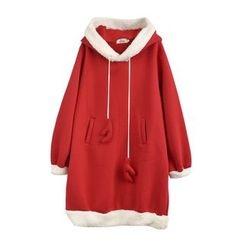 Moriville - Pompom Furry Trim Hoodie Dress
