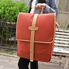 Miss Sweety - Contrast-Trim Flap Canvas Backpack