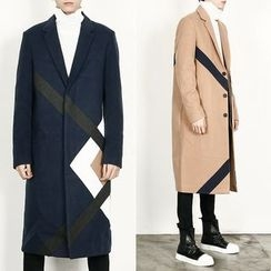 Remember Click - Wool-Blend Contrast-Trim Long Coat