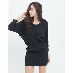 GUMZZI - Dolman-Sleeve Stripe Knit Dress