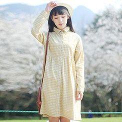 tete - Long-Sleeve Check Shirt Dress