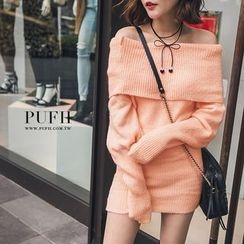 PUFII - Off-Shoulder Knit Dress
