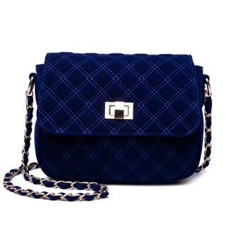 MBaoBao - Quilted Velvet Chain-Strap Shoulder Bag