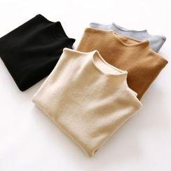 布丁坊 - 纯色高领毛衣