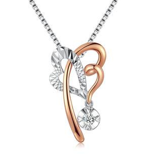 MaBelle - 18ct Rose White Gold Textured Heart and Butterfly Diamond Dangle Pendant Necklace (0.09 cttw) (FREE 925 Silver Box Chain, 16')