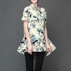 Mythmax - Short-Sleeve Asymmetric-Hem Printed Blouse
