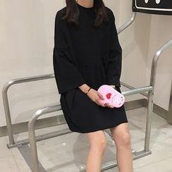 Cloud Nine - Bell-Sleeve Plain Dress