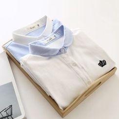 布丁坊 - 皇冠刺绣衬衫