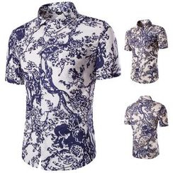 Fireon - Printed Short-Sleeve Linen Shirt