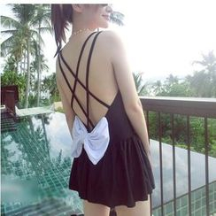 Jumei - Bow Accent Swimdress