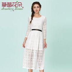Strawberry Flower - Long-Sleeve Lace Dress