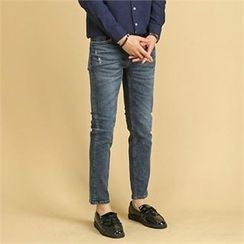 THE COVER - Straight-Cut Washed Jeans