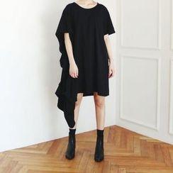 Carabecca - 纯色垂式短袖连衣裙