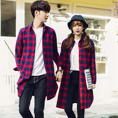 Evolu Fashion - Couple Matching Plaid Long-Sleeve Long Shirt