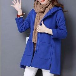 NINETTE - Fleece-Lined Plain Hooded Zip Coat