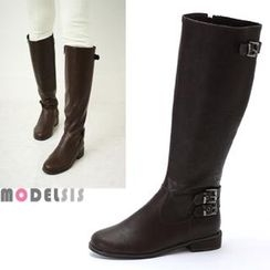 MODELSIS - Buckled Zip-Up Long Boots