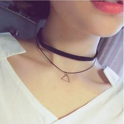 Jemai - Triangle Pendant Layered Choker