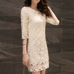 Enjoi - Lace 3/4 Sleeve Sheath Dress