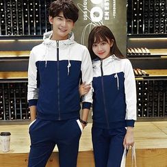 belle epoque - Couple Matching Set: Color Panel Hooded Zip Jacket + Drawstring Pants
