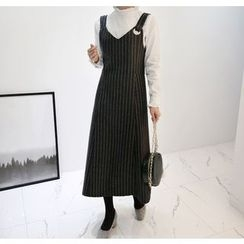 Miamasvin - Eyelet Striped Long Jumper Dress