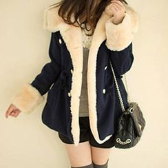 Fashion Street - Furry Woolen Long Coat