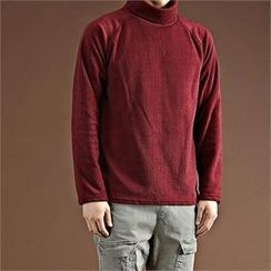 THE COVER - Turtle-Neck Raglan-Sleeve Fleece Top
