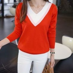 Autunno - Contrast-Color V-Neck Knit Top