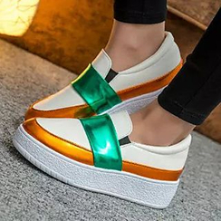 Pixie Pair - Color Block Platform Slip-Ons