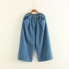 Mushi - Striped Band Waist Culottes