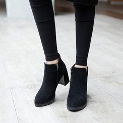 Charming Kicks - Block Heel Ankle Boots