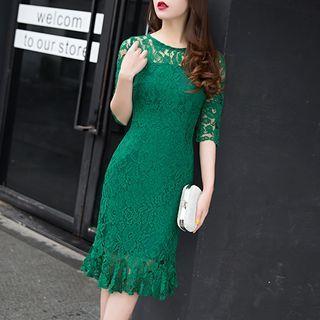 LYRA - Ruffle Hem Lace Cocktail Dress