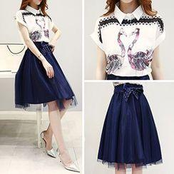 Ashlee - Set: Print Short Sleeve Shirt + Tulle Skirt with Sash