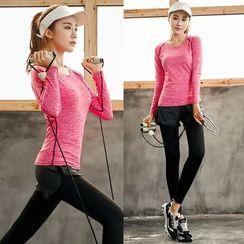 PUDDIN - Sports Set: Long-Sleeve Top + Skinny Pants
