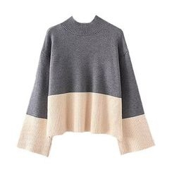 Jack Grace - Long-Sleeve Color-Block Knit Top