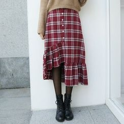 Envy Look - Asymmetric-Hem Check A-Line Midi Skirt