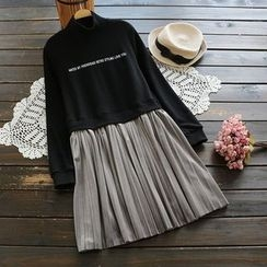 YOYO - Long-Sleeve Fleece-Lined Pleated Dress