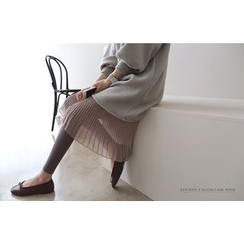 DAILY LOOK - Inset Pleated Skirt Puff-Sleeve Dress